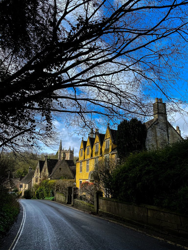 The yellow house at Castle Combe in the Cotswolds