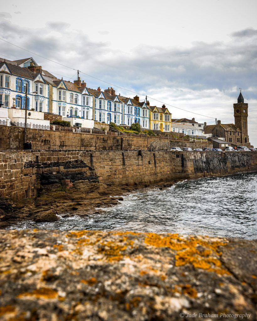 Porthleven Harbour fishing village in Cornwall